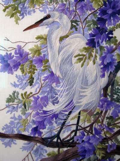 Reader's Embroidery: Crewel Work Bird in Whites and Purples