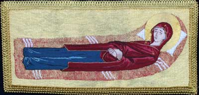 Dormition of the Virgin Mary Embroidered in Silk and Gold