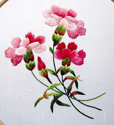 Hand Embroidered Carnations by Margaret Cobleigh