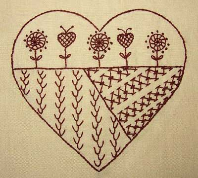 Reader's Embroidery: Jeannine's sampler hearts