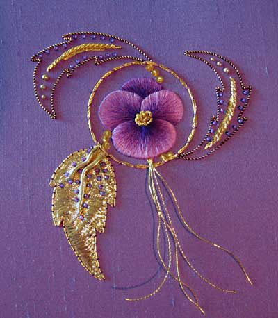 Goldwork and silk shading pansy from Royal School of Needlework course, stitched by Margaret Cobleigh