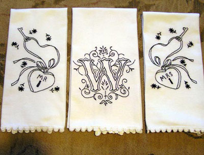 Monogrammed Towels Hand Embroidered by Queenie