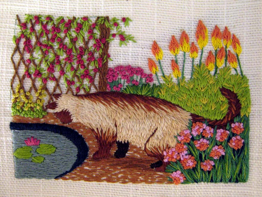 Reader's Embroidery: Cat worked in floche