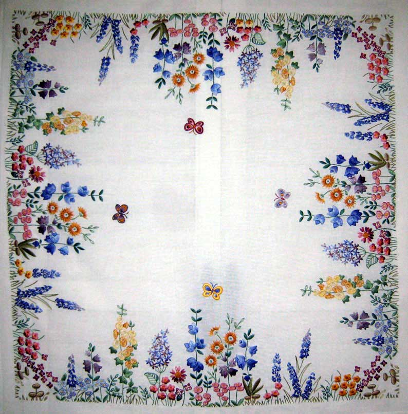 Hand Embroidered Tea Cloth: Spring by Anchor, stitched by Margaret Cobleigh