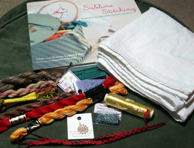 November Embroidery Stash Give-away: Plenty of embroidery threads, an embroidery book, some embroidery blanks, and other stuff!