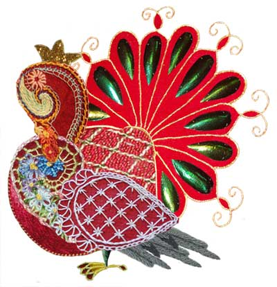 Embroidery Projects combined in Photoshop to look like a turkey of sorts