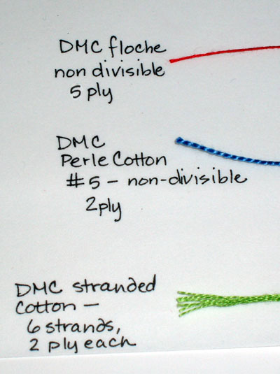 Thread Comparisons - Cotton Embroidery Threads: DMC Stranded Cotton, Perle #5, and Floche
