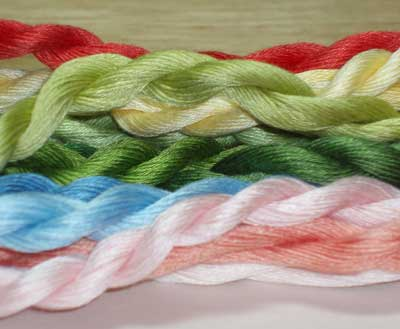 Cotton floche vs. cotton Danish flower thread