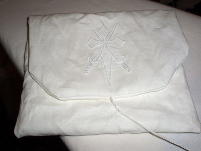 Hand Embroidered Pouch: Whitework on Linen