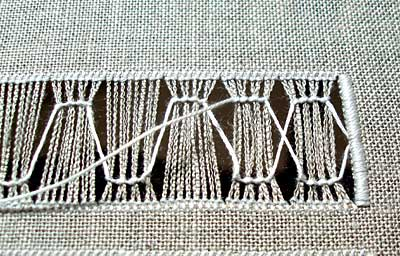 Simple Drawn Thread Embroidery Design worked with Coral Knots