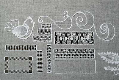 Whitework Embroidery Sampler progress