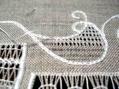 Whitework Sampler Progress: 15 Minutes with Drawn Thread Embroidery