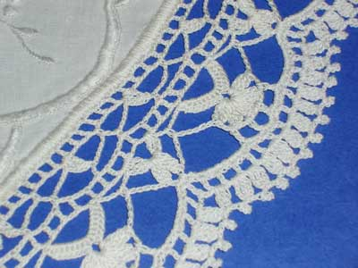 Whitework on Linen Table Topper, with Crocheted Lace Edge