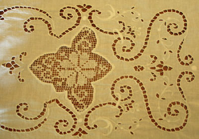 Whitework dresser scarf with filet lace insert