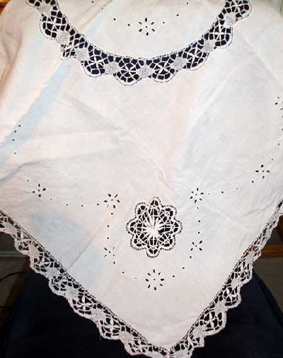 Whitework tablecloth with needlelace inserts