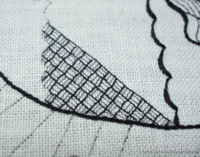 Blackwork Fish embroidered in various weights of black silk thread