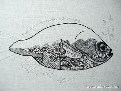 The blackwork fish coming along for Fish 2 flirt