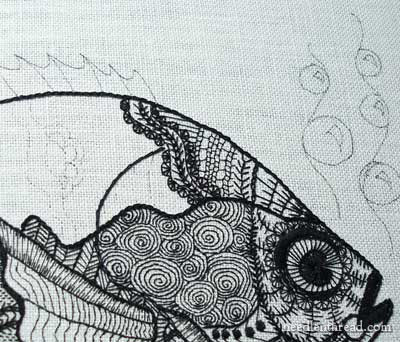 Blackwork Embroidery: A Fish