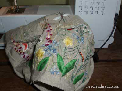 Hand Embroidery on the Outside Pocket of a Tote Bag - Embroidered Garden