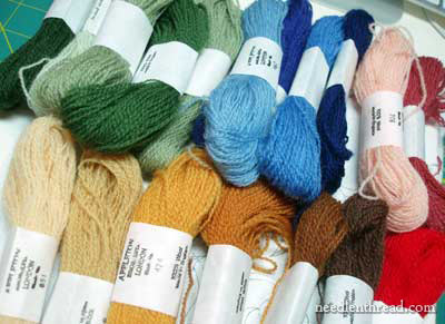 Selecting wool threads for crewel embroidery project