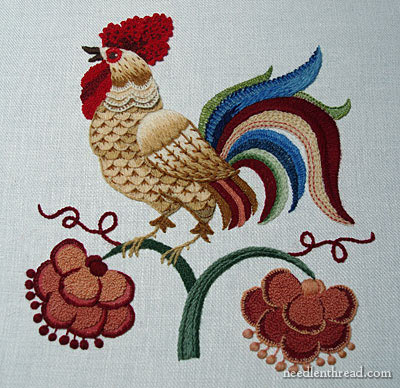 Crewel Embroidery Project: The Crewel Rooster
