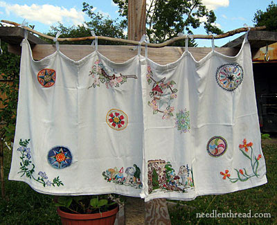 Hand Embroidery on Curtains - a Sampler