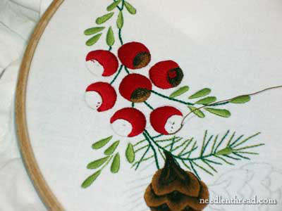 Hand Embroidery on Flour Sack Towel, Christmas design, 2008
