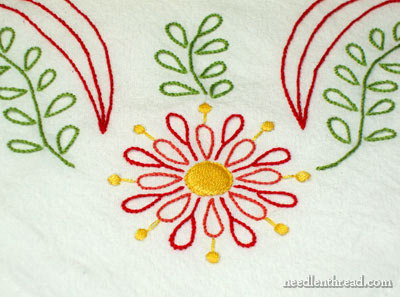 Hand embroidery on a flour sack towel