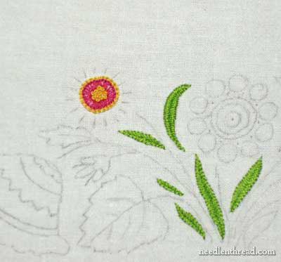 Hand Embroidered Towel with Spring Flowers