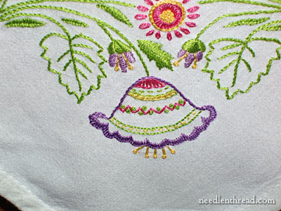 Hand Embroidered Towel: Spring Garden Design on a Corner