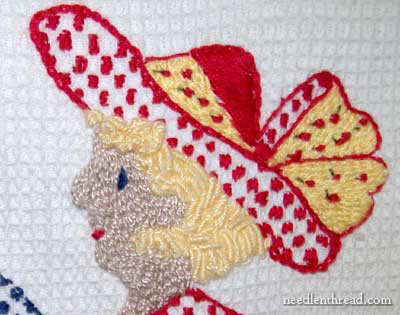Hand Embroidery on Waffle Weave Towel: To Market by Janice Miller