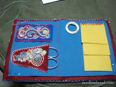 Embroidered Felt Needlebook with a Thread Ring Attached