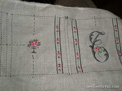 Hand Embroidered Needlebook with bullion roses