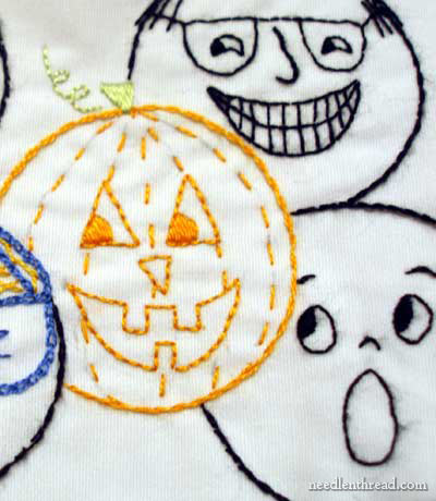 Hand Embroidered Jack-o-Lantern