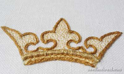Embroidered Crown: Raised Work and Seed Stitch