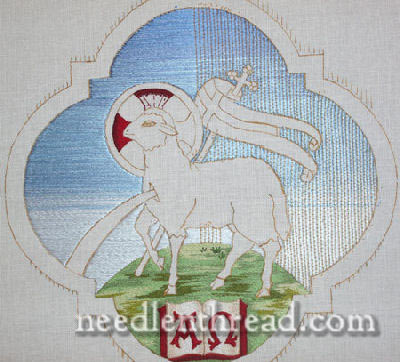 Agnus Dei Design, flat silk satin stitch couched with gold