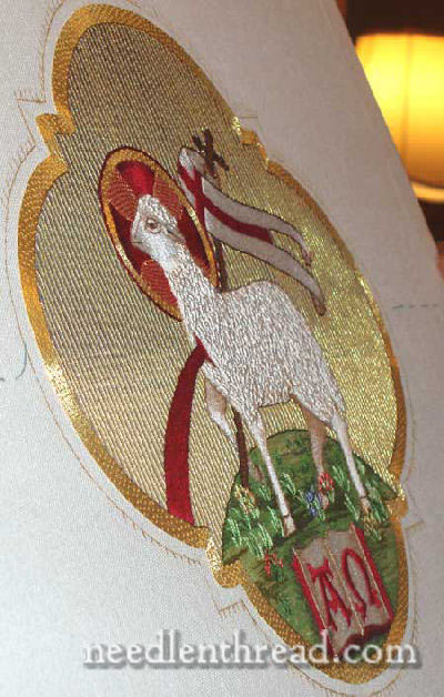Hand Embroidered Agnus Dei - side view of completed project