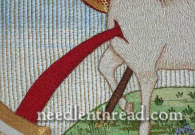 Hand Embroidered Agnus Dei - blood worked in stem stitch