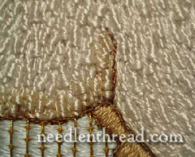 Hand Embroidered Agnus Dei - lamb outline in YLI silk