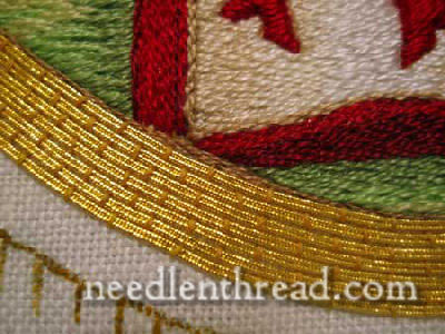 Hand Embroidered Agnus Dei - gold couching
