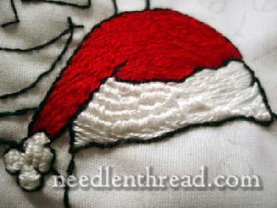 My curly wool stitch on Santa's cap