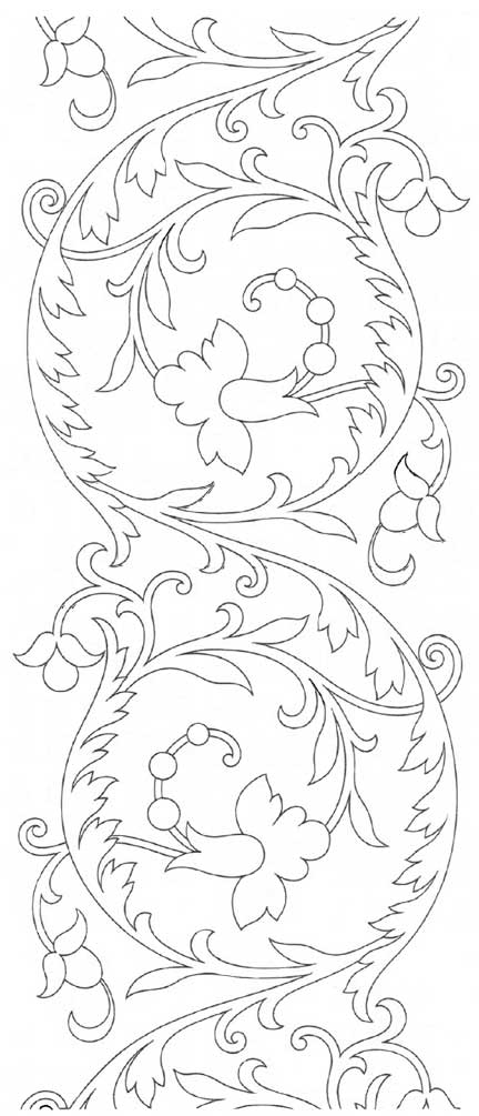 Free Hand Embroidery Pattern: Repeatable Scroll Design from Therese Dillmont