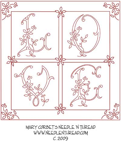 Free Hand Embroidery Design: Love
