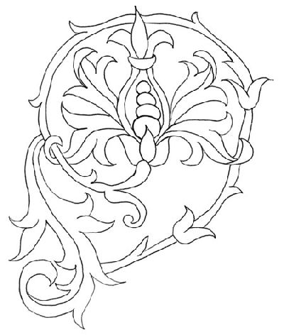 free embroidery pattern: stylized flower