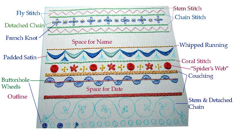Embroidery stitch sampler free patterns
