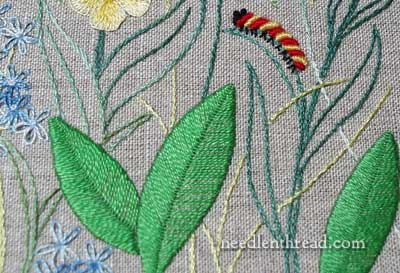 Fly Stitch in Hand Embroidery worked vertically