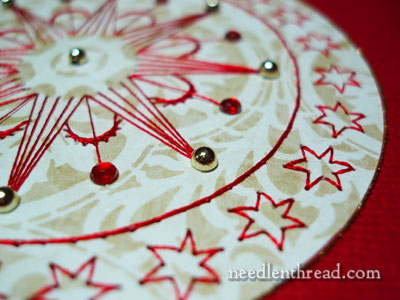 Hand Embroidery on Paper: Christmas Card