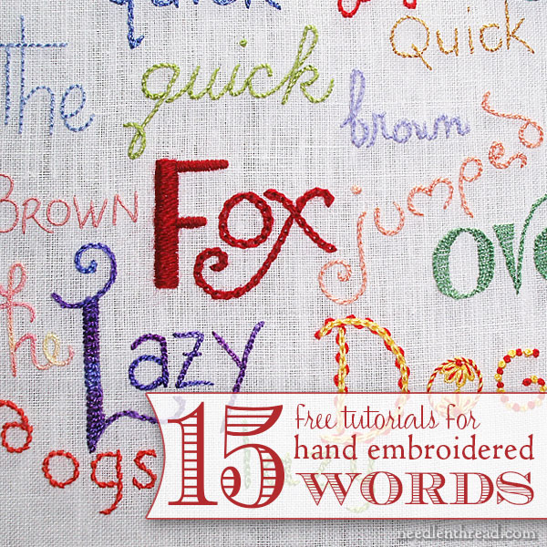 Hand embroidery lettering and text index needlenthreadcom for Embroidered alphabet letters