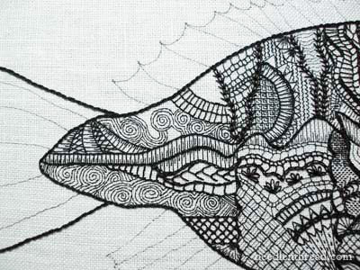 Blackwork Embroidery Fish in Progress