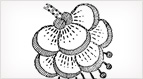 Jacobean Embroidery Pattern: Hanging Flower – Good for Goldwork, too!